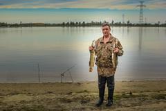 Portrait of a fisherman Stock Photos