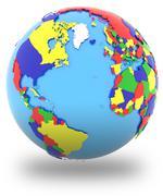 Western hemisphere on the globe Stock Illustration