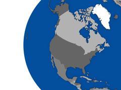 North american continent on political globe Stock Illustration