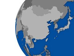 East Asia region on political globe Stock Illustration