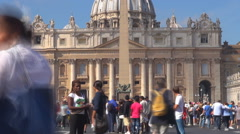 Timelapse Vatican dome building church tourist people walking Rome sightseeing  - stock footage