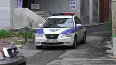 Police Car Flashing Lights Seoul South Korea Stock Footage