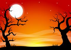 Halloween background with a full moon night Stock Illustration