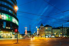 Night View of Kirkeristen street in Oslo, Norway - stock photo