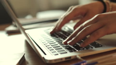 Woman hands at laptop Stock Footage