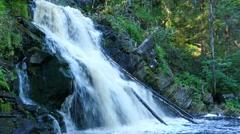 Yukankoski waterfall (white bridges) on the river Kulismayoki, Russia, Karelia, Stock Footage