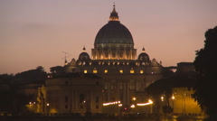Stock Video Footage of Amazing sunset Vatican church ancient cupola orange sky Rome tourism attraction