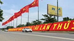 Soviet flags in Vietnam Stock Footage