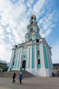 Sergiev Posad, Russia - March 28, 2015. Belfry in the territory of St. Sergiu Stock Photos