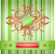 Gray - green background with star. - stock illustration
