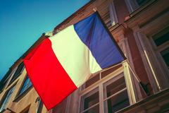 French Tricolours Flag Decorate A Local Government Building In P Stock Photos