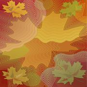 Stock Illustration of Autumn background with colorful maple leaf within vibrant curves