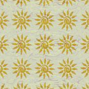 Small sun patterns on beige liquid surface - stock illustration