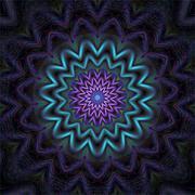Geometric mandala ornament in design silk thread embroidery on black textile Stock Illustration