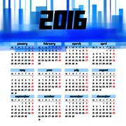 Calendar 2016 template design with header picture starts monday - stock illustration