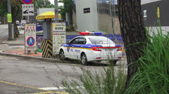 Police Car On The City Streets Seoul South Korea Stock Footage