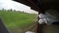 Distinctive windows view from a Transsiberian train Stock Footage