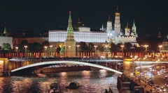 View of the Moscow Kremlin in night illumination - stock footage
