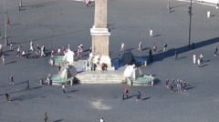 Timelapse tourist pedestrian people walk People Square Rome downtown obelisk day Stock Footage