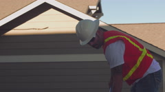 Construction worker troweling concrete Stock Footage