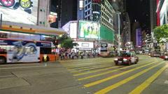 Traffic in Causeway bay in Hong Kong Stock Footage