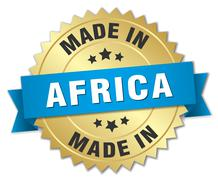 made in Africa gold badge with blue ribbon - stock illustration