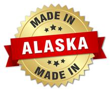 Stock Illustration of made in Alaska gold badge with red ribbon