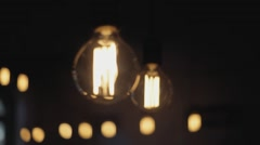 Light bulbs rack focus Stock Footage