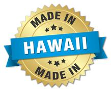 made in Hawaii gold badge with blue ribbon - stock illustration