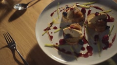Dessert placed on a table Stock Footage