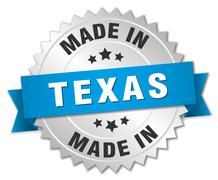 Made in Texas silver badge with blue ribbon Stock Illustration