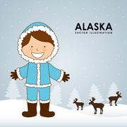 alaska kid - stock illustration