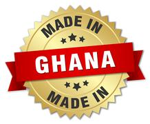 Stock Illustration of made in Ghana gold badge with red ribbon