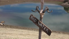 Watering hole, dwindling water supply Stock Footage