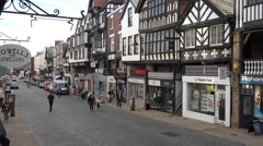 4k renovated tudor shops in chester highstreet Stock Footage