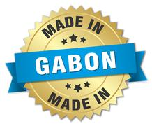 made in Gabon gold badge with blue ribbon - stock illustration