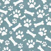 Blue and White Dog Paw Prints and Bones Tile Pattern Repeat Background - stock illustration