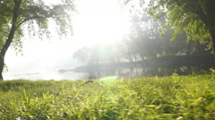 Misty calm river at sunrise Stock Footage
