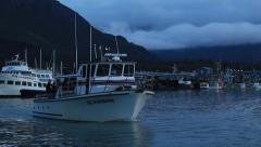 Fishing Boat Pulls out of Seward Harbor Stock Footage