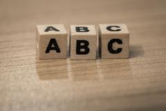 ABC in wooden cubes - stock photo