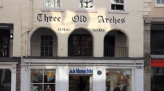 4k the old arches from 1274 AD shops in chester highstreet Stock Footage