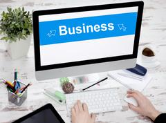 Digital generated business office working concept Stock Photos