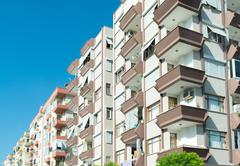 typical multi-storey residential building in Turkey - stock photo