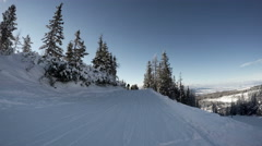 4k footage: skier passed by the picturesque forest glades while on vacation Stock Footage