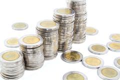 Thailand ten baht coins - stock photo