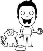 Stock Illustration of Cartoon Boy Feeding Cat