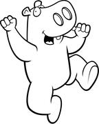 Hippo Jumping Stock Illustration