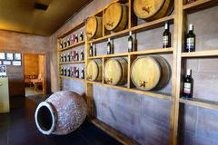 Kemer, Turkey - OCTOBER 5, 2014, Wine cellar with barrels in Turkey - stock photo
