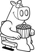 Cartoon Pig Movies - stock illustration