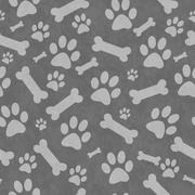 Gray Dog Paw Prints and Bones Tile Pattern Repeat Background - stock illustration